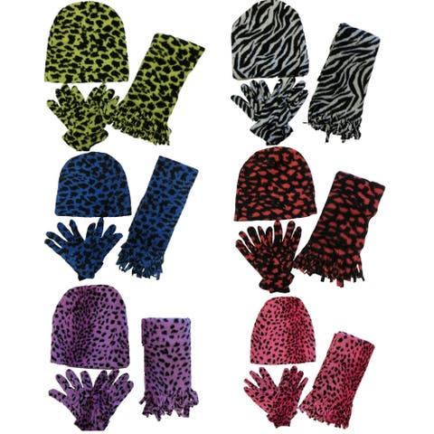 Women 6 Pack Cheetah Print Winter Glove, Beanie, Scarf Set - One Size