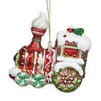 "4.25"" Peppermint Twist Red, White and Green Glittered Glass Candy Cane Train Christmas Ornament - RED"