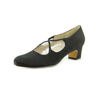 Trotters Jamie Women W Round Toe Canvas Black Heels