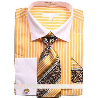 Men's Stripe Dress Shirt with Tie Handkerchief and Cufflinks