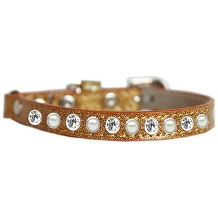 Pearl and Clear Jewel Ice Cream Cat safety collar Gold Size 10