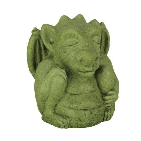 Designer Stone Mossy Green Meditating Gargoyle Concrete Statue - 5.75 X 4.75 X 3.5 inches