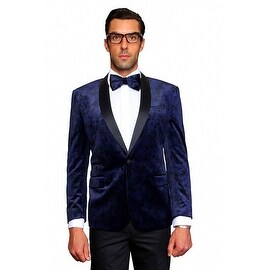 MZV-412 INDIGO Men's Manzini Velvet with Black satin Collar sport coat