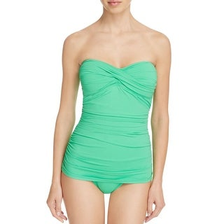 Tommy Bahama Womens Pearl Solid Ruched Strapless One-Piece Swimsuit