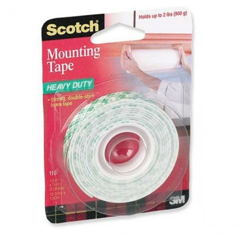 "Scotch 114 Heavy Duty Mounting Tape, 1"" x 50"", White"