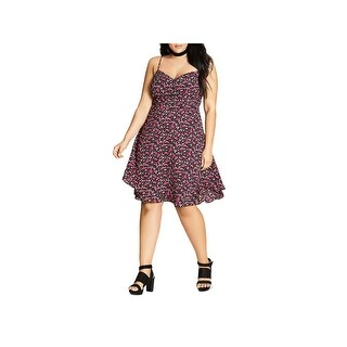 City Chic Womens Plus Casual Dress Knee Length Floral Print