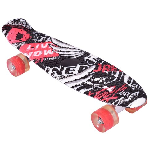 Gymax Complete 22'' Cruiser Skateboard Bendable Deck PU Casters Kids Youths Beginners - as pic