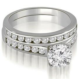 2.02 cttw. 14K White Gold Cathedral Channel Set Round Cut Diamond Bridal Set