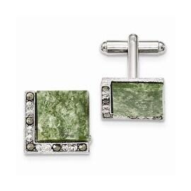 Silvertone Green Jade & Marcasite Cuff Links