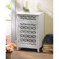 Floral Diecut Table Cabinet - White