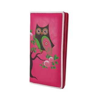Retro Style Owl On Tree Branch Textured Vinyl Fuchsia Wallet