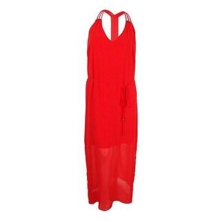City Chic Women's Plus Size Beaded Racerback Maxi Dress (M, Coral)