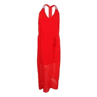 City Chic Women's Plus Size Beaded Racerback Maxi Dress (M, Coral) - Coral - 18W