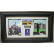 Arnold Palmer unsigned 1961-1995 St Andrews British Open 3 Photo/Scorecard Leather Framed