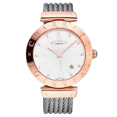 Charriol ALP.51A.117 'Alexandre C' Enamel Dial Rose-Tone 40mm Swiss Quartz Watch