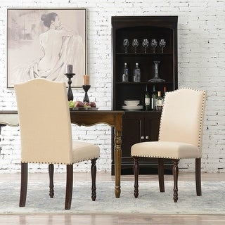 Belleze Set of (2) Parson Dining Chair w/ Nailhead Padded Seat High Back, Beige