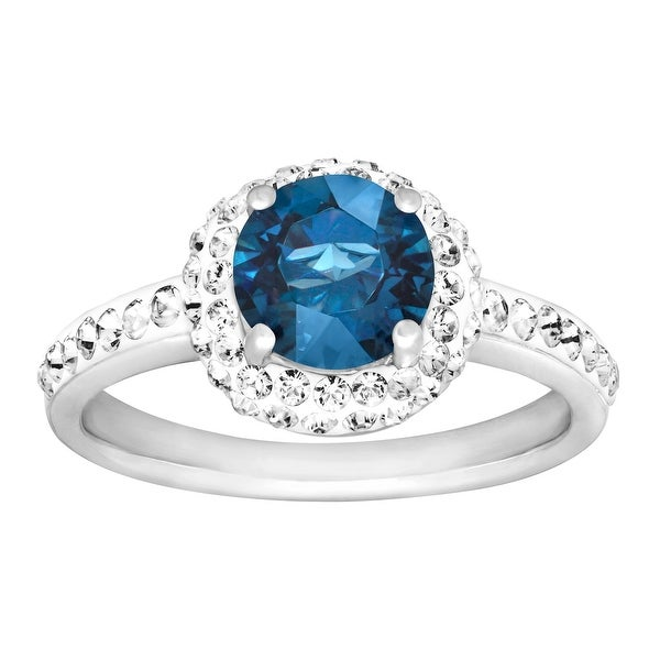 Crystaluxe September Ring with Royal Blue Swarovski Elements Crystals in Sterling Silver