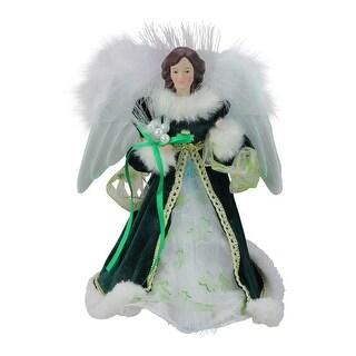 "12"" Luck of the Irish Fiber Optic Angel in Shamrock Dress Christmas Tree Topper - Green"
