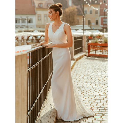 5771075309 Ever-Pretty Women's Lace White Formal Evening Party Wedding Dress with  Train 07385