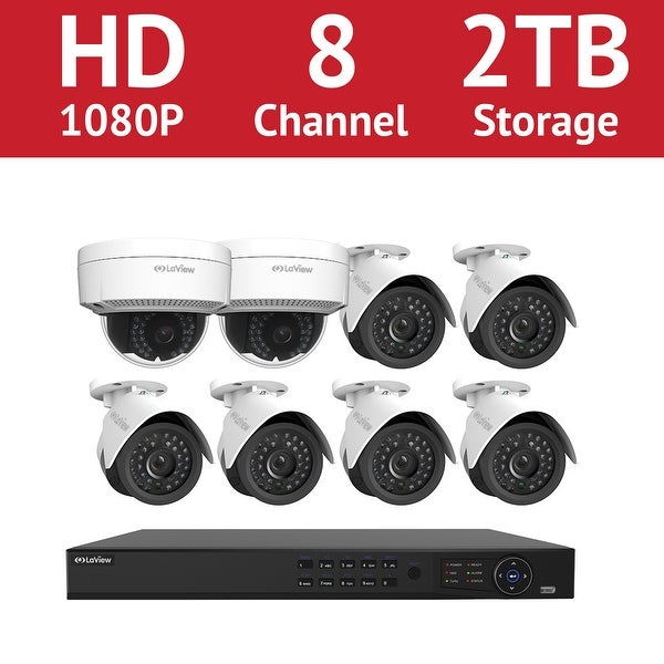 LaView 8 Channel 1080p IP NVR with (6) 1080p Bullet Cameras and (2) 1080p Dome Cameras and a 2TB HDD