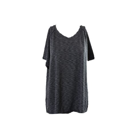 Ideology Plus Size Grey Space-Dyed Top 1X