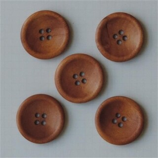 Maya Road WD2711 Wooden Buttons 5-Pkg-Vintage Stained 1.25 in.