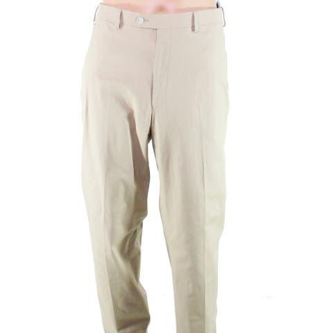 Lauren by Ralph Lauren Mens Pants Beige Size 40X32 Flat-Front Stretch