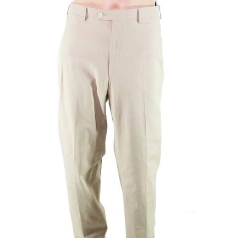Lauren by Ralph Lauren Mens Pants Beige Size 44X30 Flat-Front Stretch