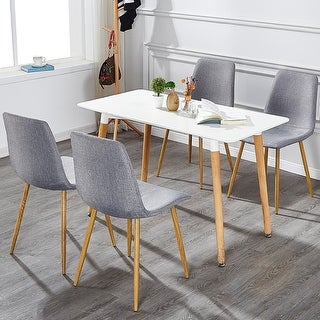 VECELO Kitchen Dining Chairs Sets Fabric Cushion Seat Back (Set of 4)