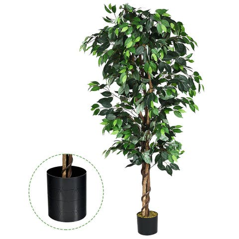 Costway 4 Feet/6 Feet Artificial Ficus Silk Tree Wood Trunks Green