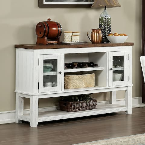 Furniture of America Sylmer Transitional Distressed White Server