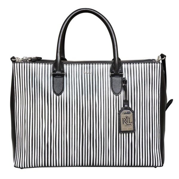 Shop Ralph Lauren Newbury Double Zip Black and White Leather Satchel Handbag  - Free Shipping Today - Overstock.com - 22678801 03c9a0d48f