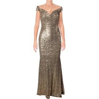 Badgley Mischka Womens Evening Dress Mesh Sequined