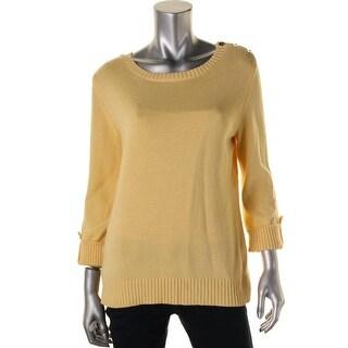 Karen Scott Womens Cotton Long Sleeves Sweater - S