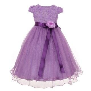 Big Girls Purple Sequin Textured Bodice Tulle Wire Hem Party Dress 8-12