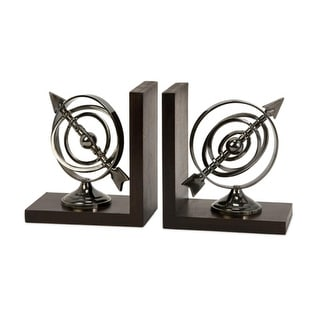 Elegant Silver Chrome Finish Executive Armillary Bookends 7""