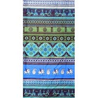 Cotton Kalamkari Tie Dye Floral Tapestry Wall Hanging Tablecloth Square Thin Bedspread Queen Blue Green
