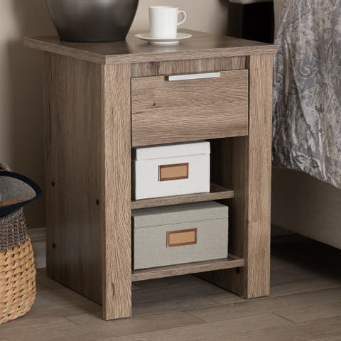 Laverne Modern and Contemporary Oak Brown Finished 1-Drawer Nightstand