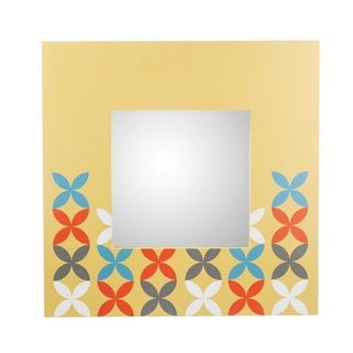 Pack of 2 Square Light Orange Mirrors with Vibrant Modern Floral Pinwheel Design