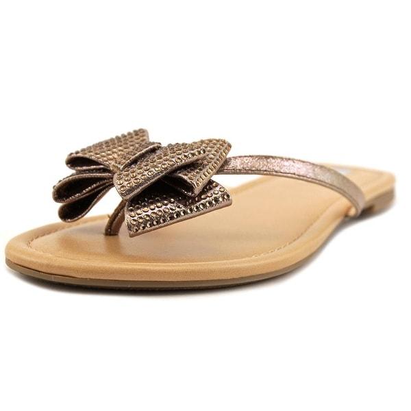 INC International Concepts Mabae Women Open Toe Canvas Bronze Thong Sandal