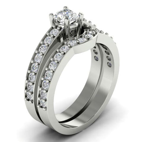 1.00 CT Prong Set Round Cut Diamond Curved Matching Bridal Set in 14KT