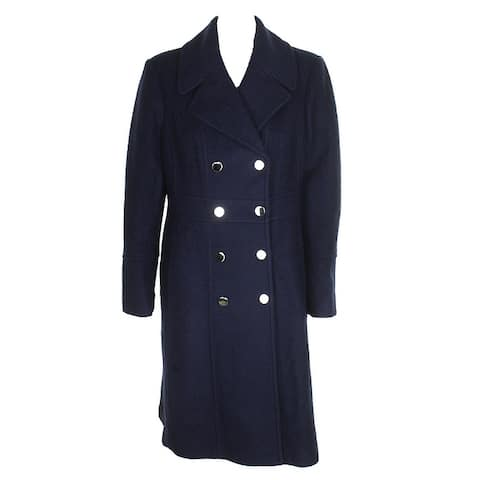 Guess Navy Knee-Length Double-Breasted Peacoat XL