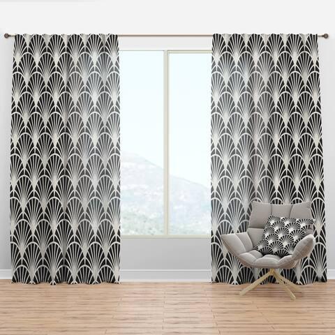 Designart 'Retro Art Deco Waves I' Mid-Century Modern Curtain Panel