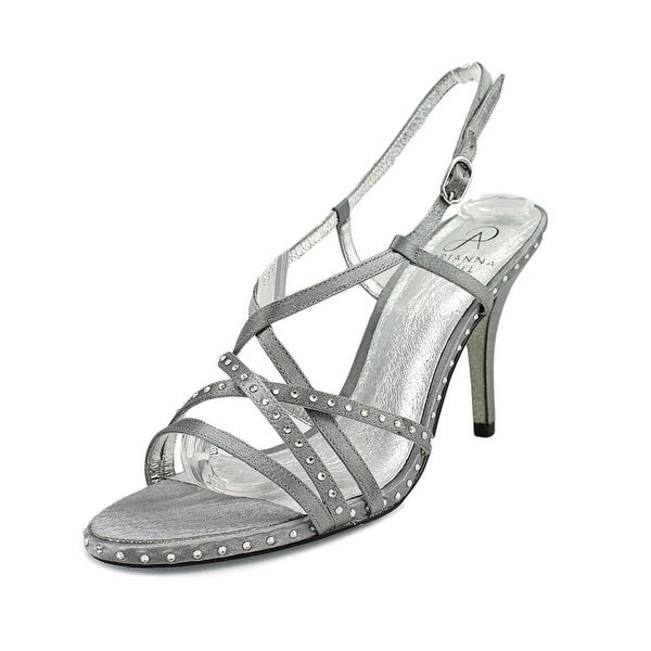Adrianna Papell Acacia Women Open-Toe Canvas Silver Heels