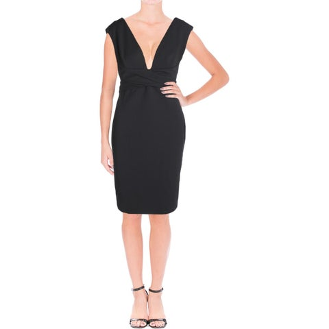 Vera Wang Womens Cocktail Dress Belted Sleeveless