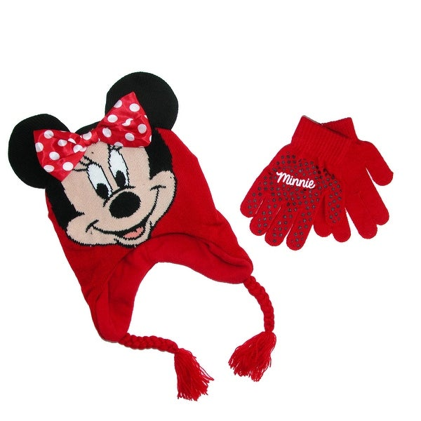 Disney Girl's Minnie Mouse Hat and Gloves Winter Set