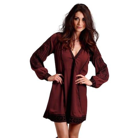 Stetson Western Dress Womens L/S Crepe Wine