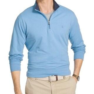 IZOD NEW Blue Mens Size Medium M Mock-Neck Pull-Over 1/2 Zip Sweater