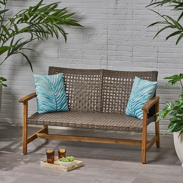 Hampton Outdoor Wood and Wicker Loveseat by Christopher Knight Home. Opens flyout.