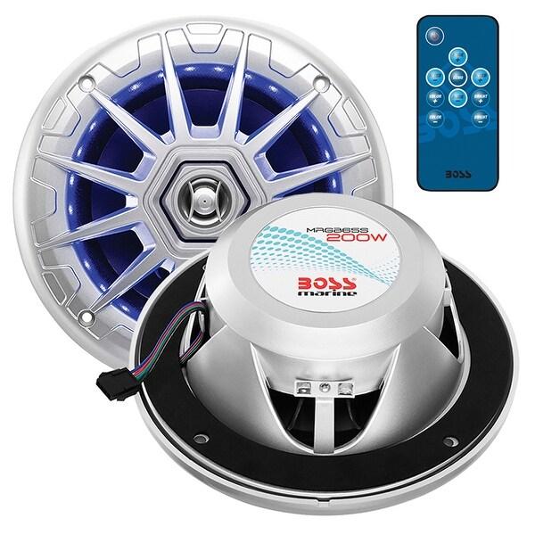 "Boss Audio Marine silver 6.5"" 2 way speaker (PAIR) multi color illumination wireless remote"